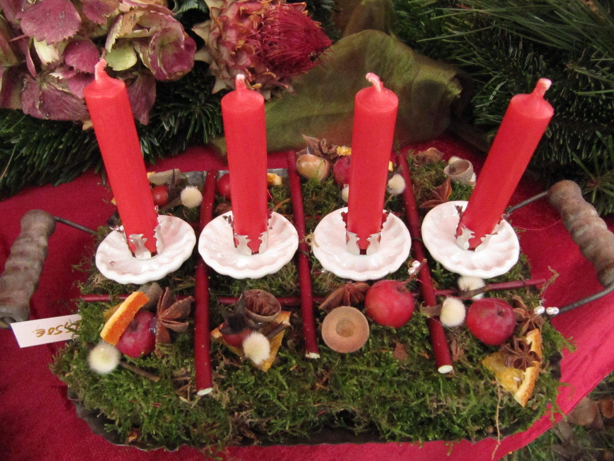 Bastelwerkstatt, Gartenseminare und kreativ Workshops für Kinder und Erwachsene in der GartenWerkstatt Berlin Ideen für Weihnachtliche Tischdeko Kerzenhalter