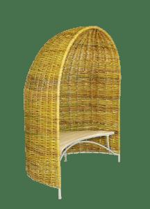 Weidenmuschel Geräumige Weidenmuschel mit integrierter Sitzbank, bietet Platz für 2-3 Personen. Lauschiger Sonnen- und Regenschutz für Garten und Terrasse